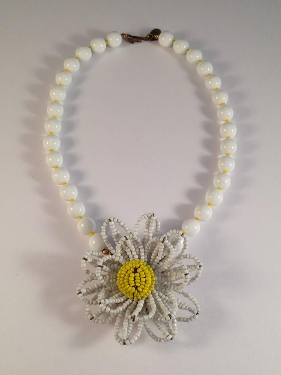 Miriam Haskell Beaded Flower Necklace 1950s At 1stdibs