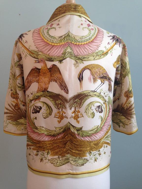 Brown Hermes Silk 'Ceres' Print Blouse Shirt 1960s For Sale
