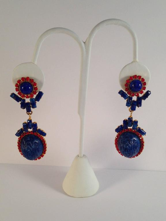 William De Lillo Earrings Blue and Red 1971 For Sale 2