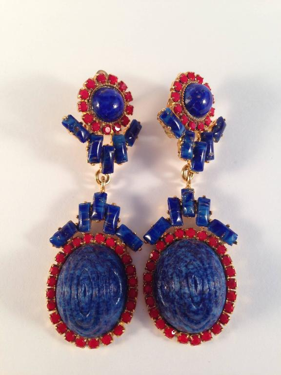 William De Lillo Earrings Blue and Red 1971 In Excellent Condition For Sale In Chicago, IL
