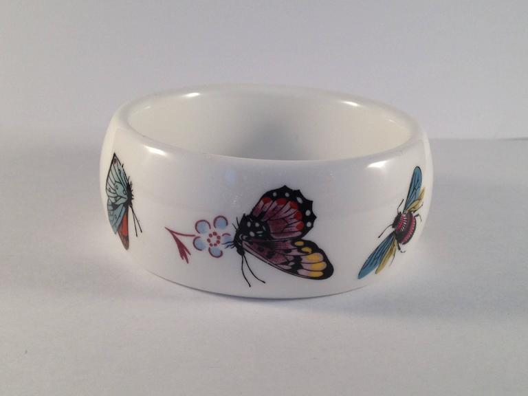Kenneth Jay Lane 1976 Butterfly Bone China Bracelet for Royal Worchester In Excellent Condition For Sale In Chicago, IL