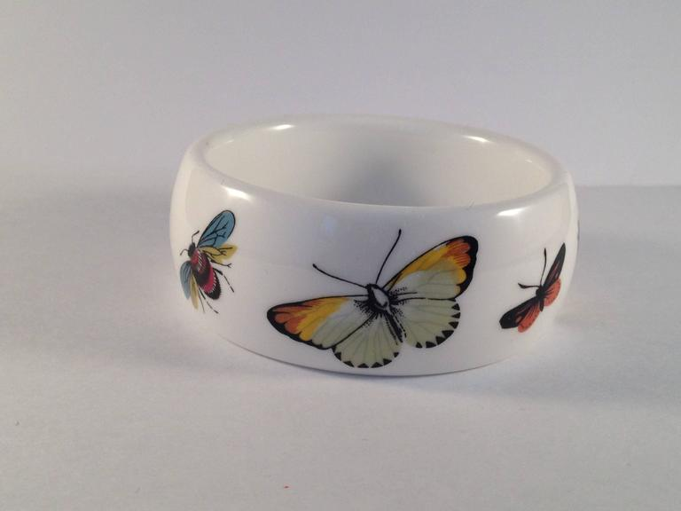 Women's Kenneth Jay Lane 1976 Butterfly Bone China Bracelet for Royal Worchester For Sale