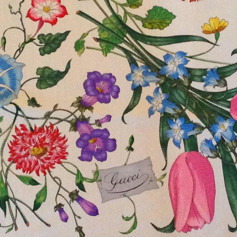 Vintage gucci scarf pink flora pattern at 1stdibs beige vintage gucci scarf pink flora pattern for sale mightylinksfo