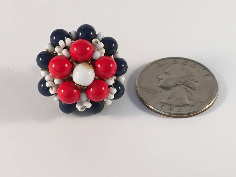 1960s Miriam Haskell Red, White and Blue Beaded Earrings In Excellent Condition In Chicago, IL