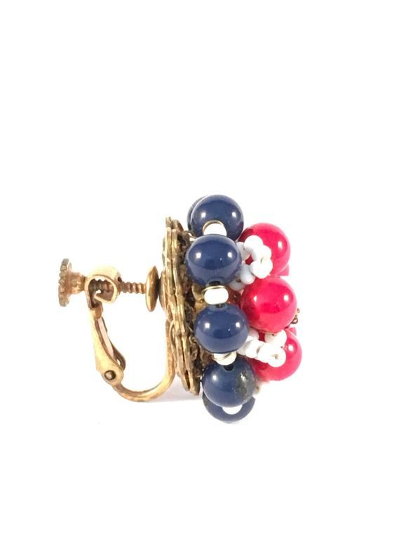 Women's 1960s Miriam Haskell Red, White and Blue Beaded Earrings