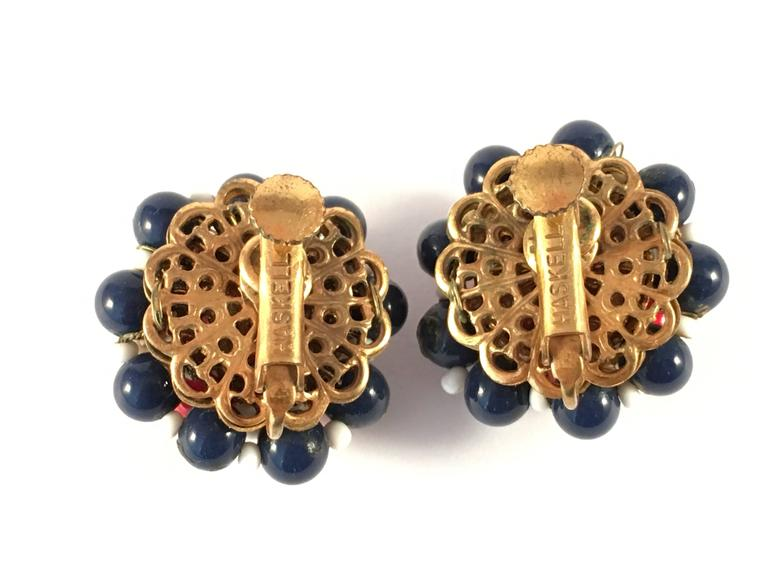 1960s Miriam Haskell Red, White and Blue Beaded Earrings 1