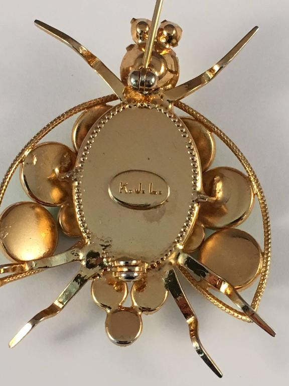1960s Kenneth Jay Lane Green Bug Brooch 1