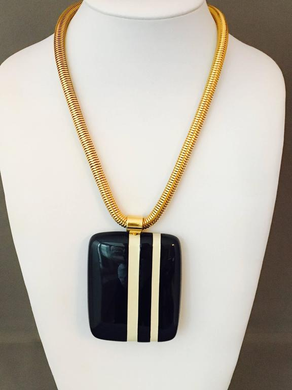 1970s Vintage Lanvin Striped Pendant Necklace And Earrings