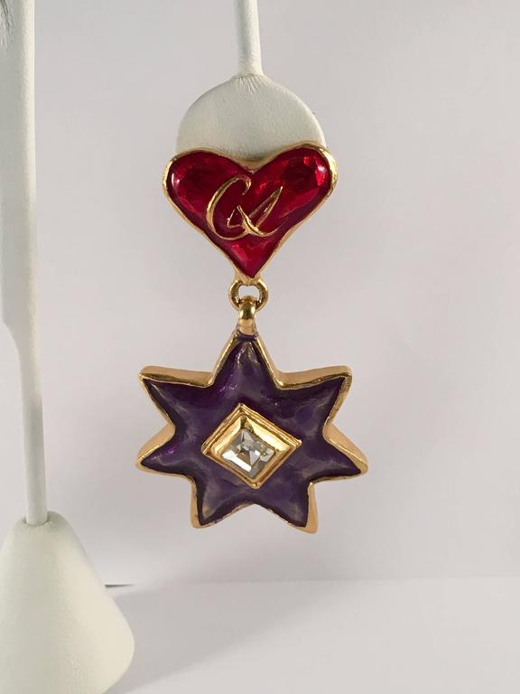 1990s Christian LaCroix Heart and Star Dangle Earrings In Excellent Condition For Sale In Chicago, IL
