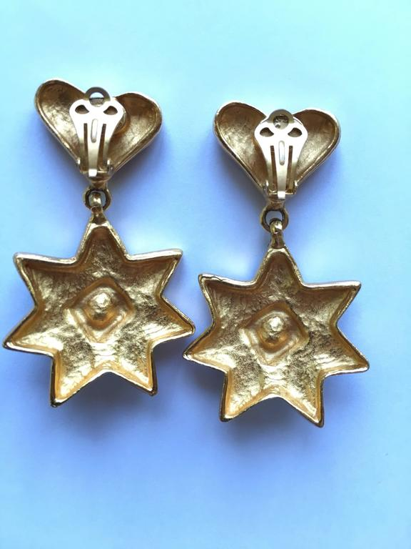 Women's 1990s Christian LaCroix Heart and Star Dangle Earrings For Sale