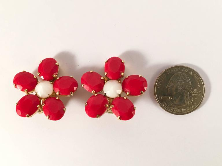 1960s Schreiner Red Flower Earrings 3