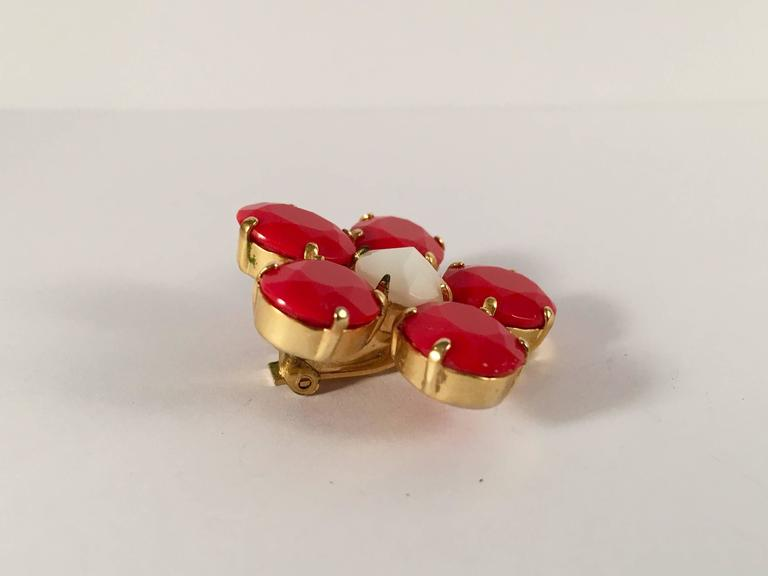 1960s Schreiner Red Flower Earrings 4