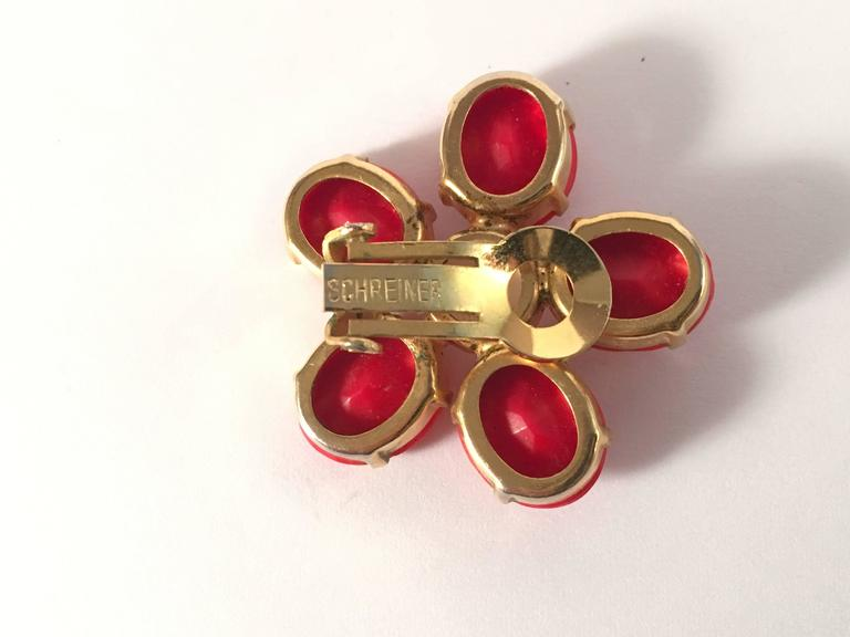 1960s Schreiner Red Flower Earrings 6