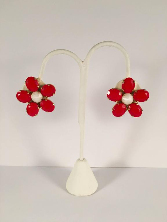 1960s Schreiner Red Flower Earrings 2