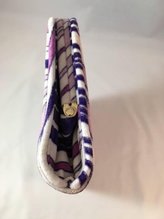 Beige 1960s Emilio Pucci Lilac Velvet Clutch For Sale