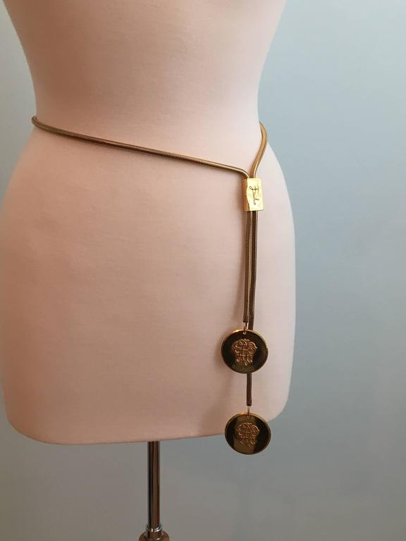 1960s Emilio Pucci Loged Goldtone Snake Chain Belt  6