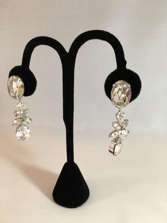 Christian Dior Vintage Dangling Clip On Diamante Earrings  2