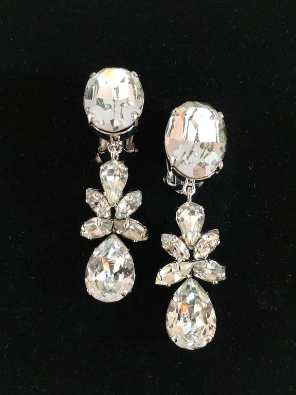 Christian Dior Vintage Dangling Clip On Diamante Earrings  3
