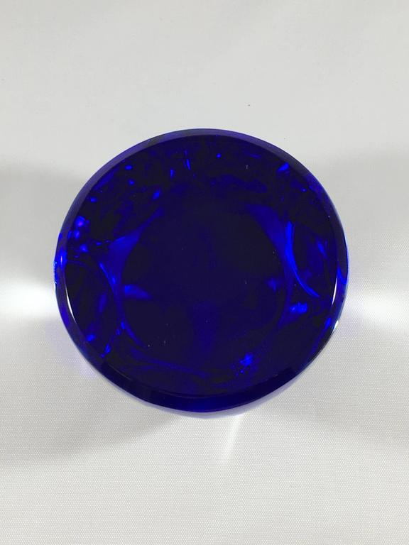 1970s Baccarat Sagittarius Colbalt Blue Zodiac Paperweight