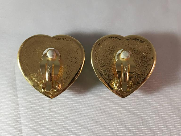 Women's 1980s Yves Saint Laurent Green Glass Heart Clip On Earrings For Sale