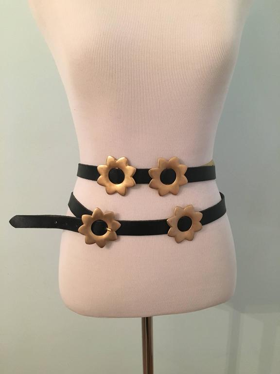 1980s Kenzo Long Black Wrap Belt with Gold Flowers  2
