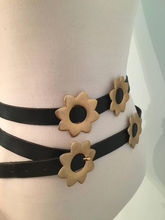 1980s Kenzo Long Black Wrap Belt with Gold Flowers  3