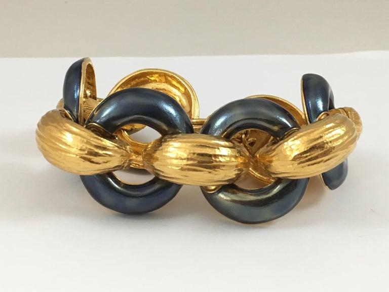 Yves Saint Laurent Goldtone and Bluish Gray Enamel Rive Gauche Bracelet, 1980s  For Sale 3