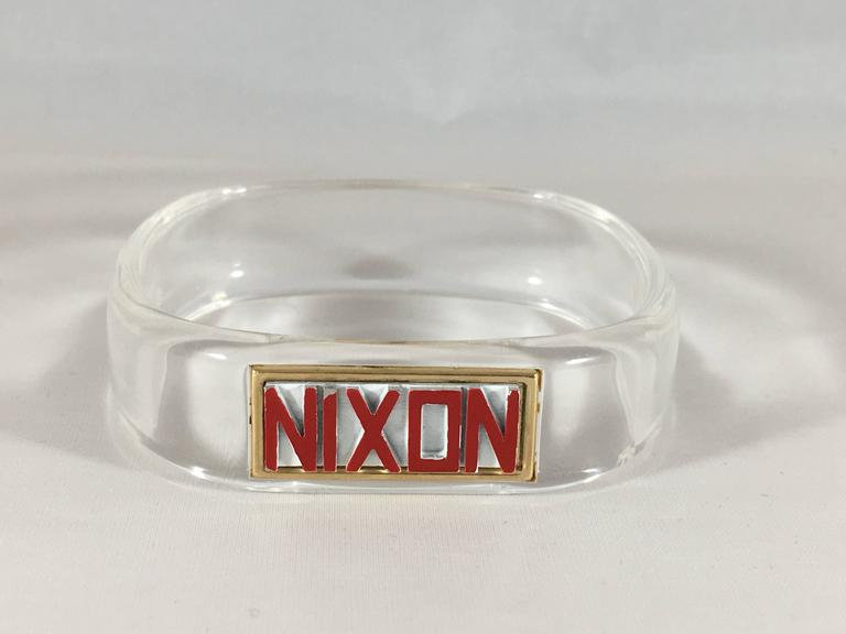 Rare 1968 Lucite Trifari Nixon Bangle Bracelet Presidential Election Memorabilia 2
