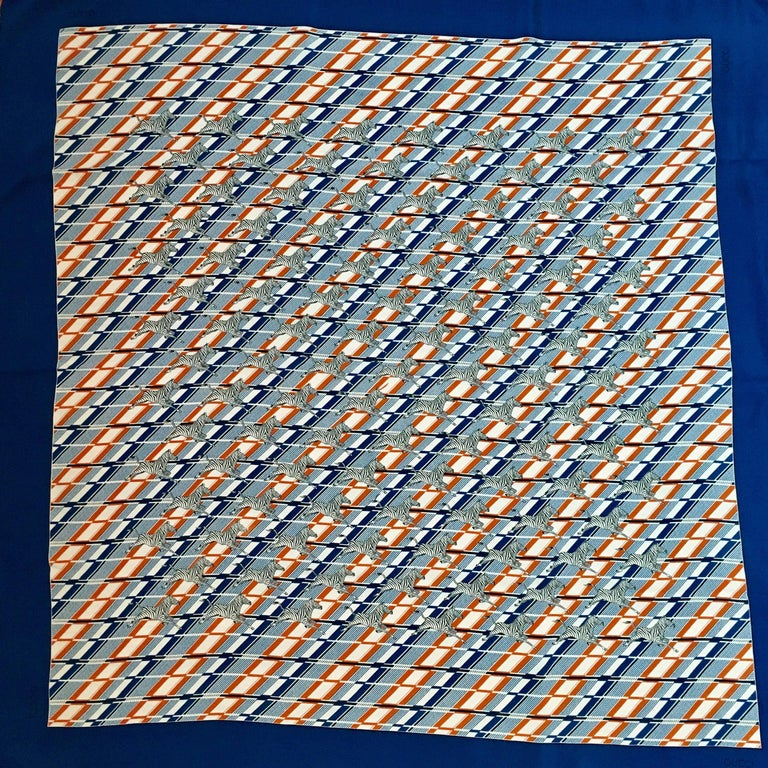 1970s Gucci Zebra Scarf Navy, White and Orange  3