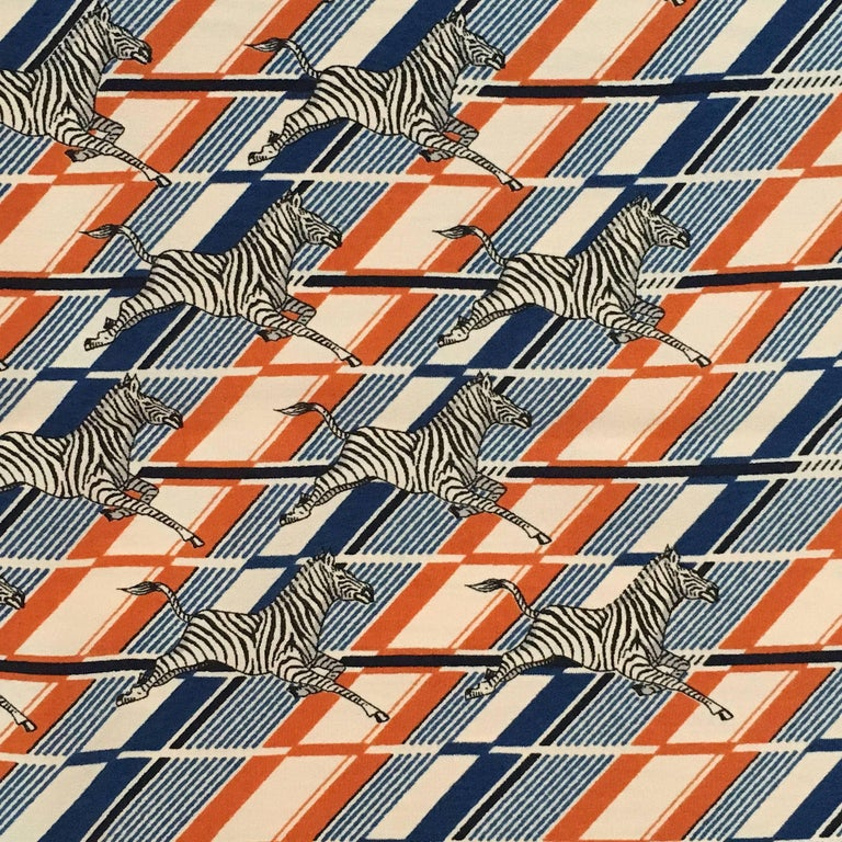 1970s Gucci Zebra Scarf Navy, White and Orange  4