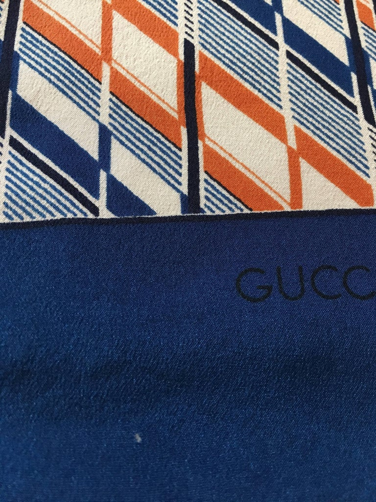 1970s Gucci Zebra Scarf Navy, White and Orange  5