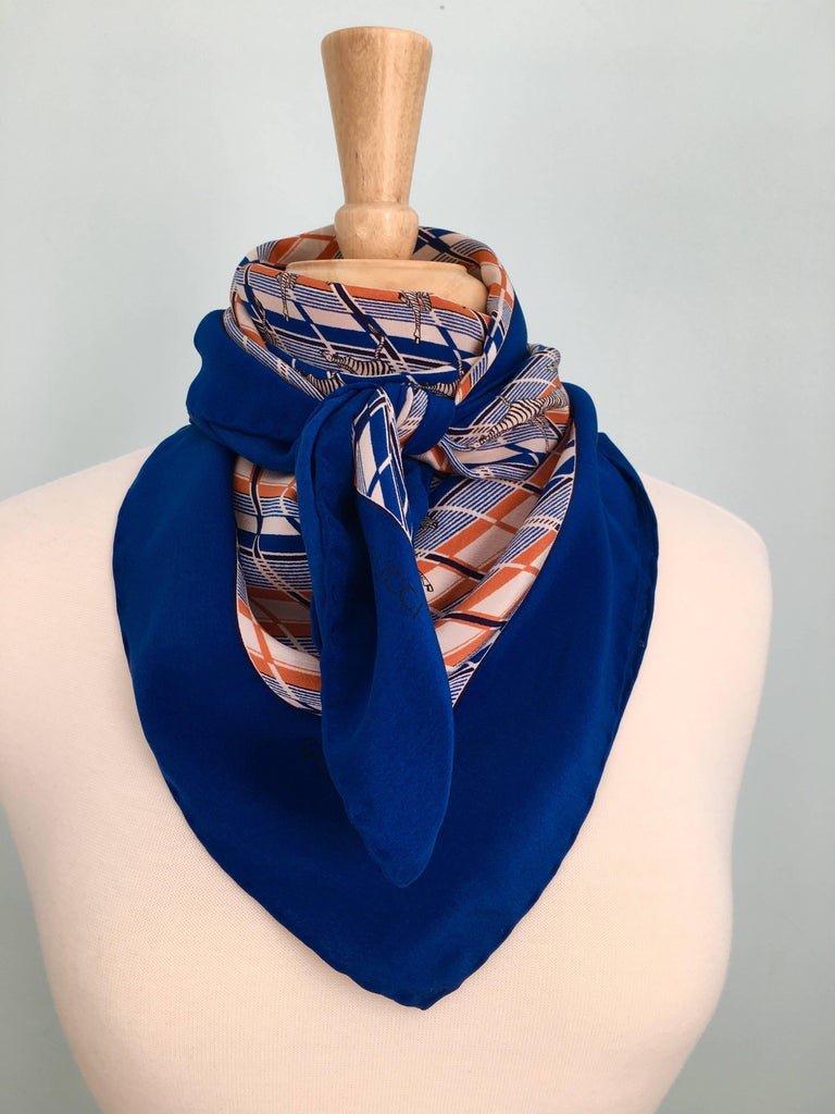 1970s Gucci Zebra Scarf Navy, White and Orange  8