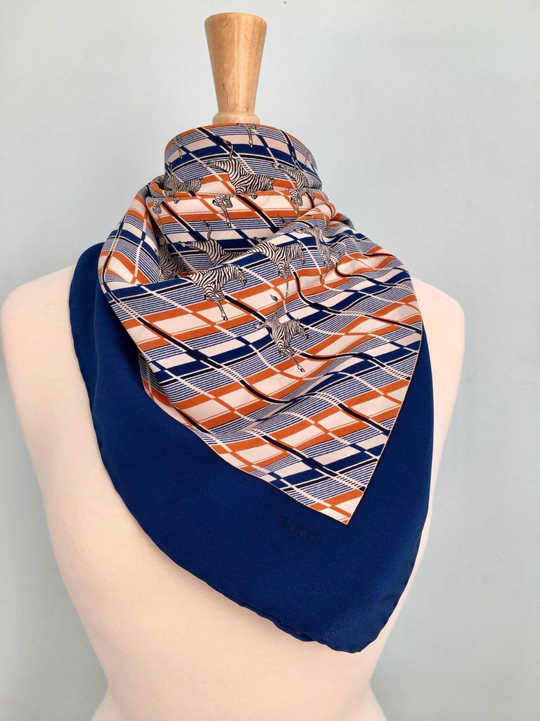 1970s Gucci Zebra Scarf Navy, White and Orange  7