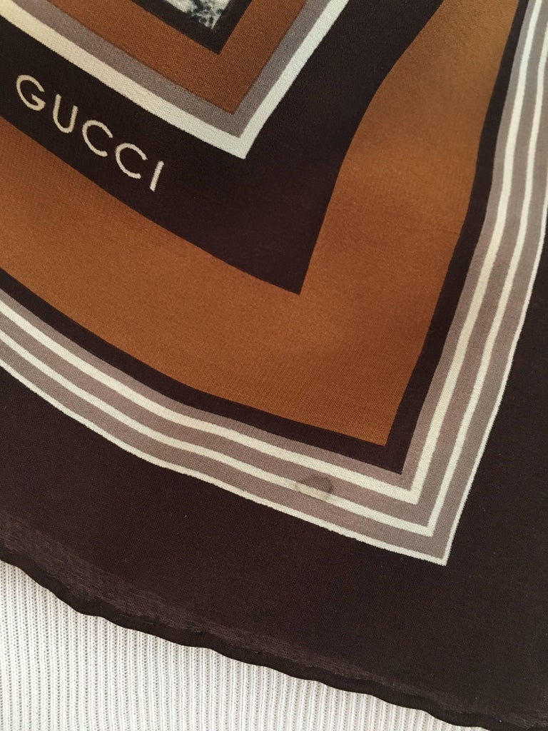 Gucci 1970s Scarf in Original Box with Orginal Tissue and Receipt 7