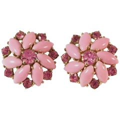 Schiaparelli Pink Flower Clip-On-Earrings, 1950s