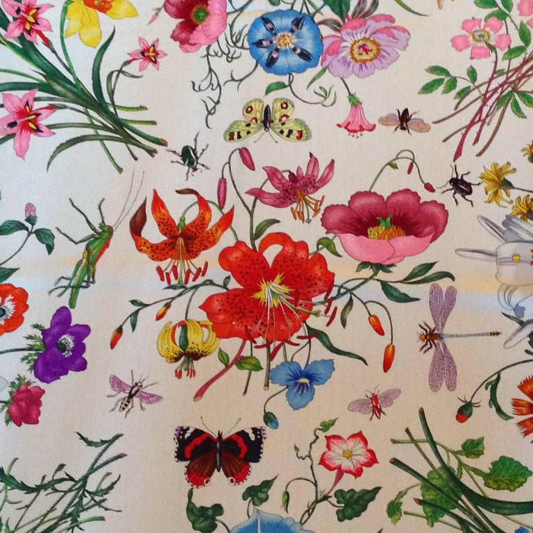 Gucci flora pattern scarf with pink border for sale at 1stdibs this fabulous 1980s silk gucci scarf features the iconic flora pattern which was created mightylinksfo