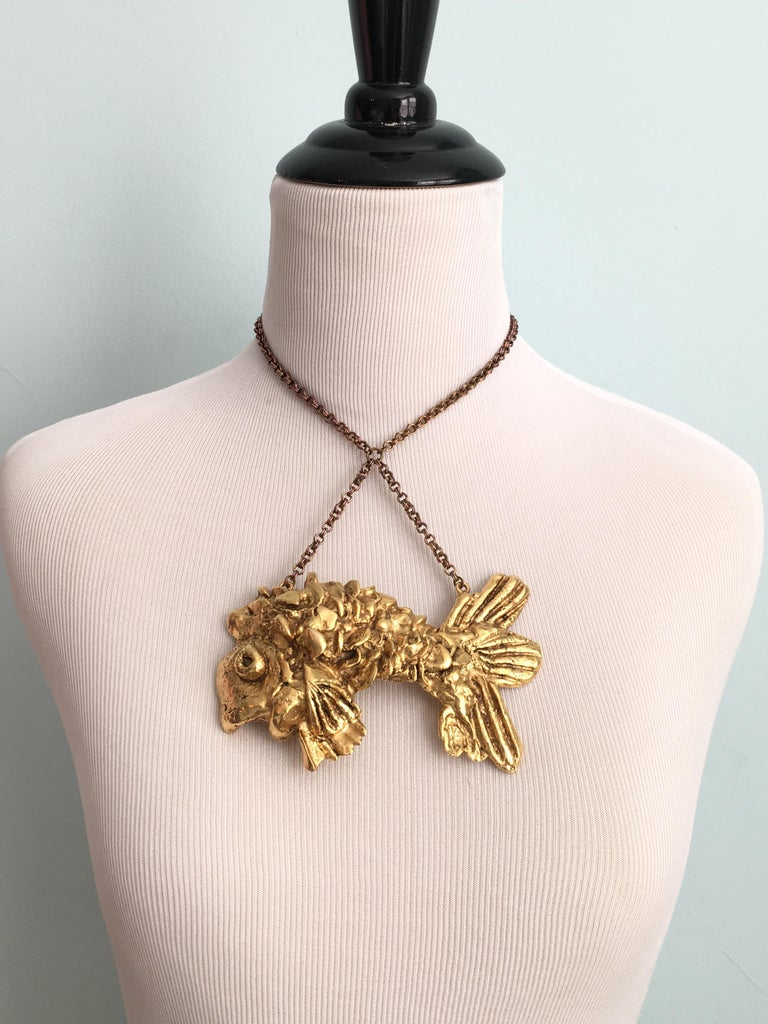 Kenneth Jay Lane Huge Fish Pendant Necklace, 1970s In Good Condition For Sale In Chicago, IL