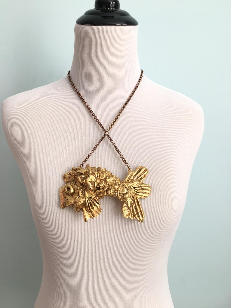 Women's Kenneth Jay Lane Huge Fish Pendant Necklace, 1970s For Sale
