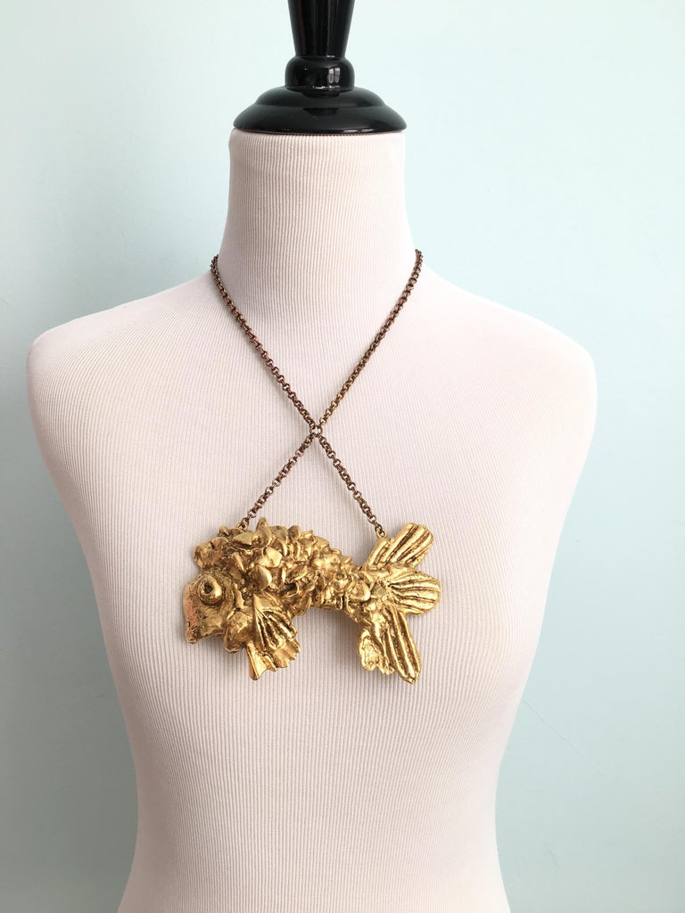 Kenneth Jay Lane Huge Fish Pendant Necklace, 1970s 2