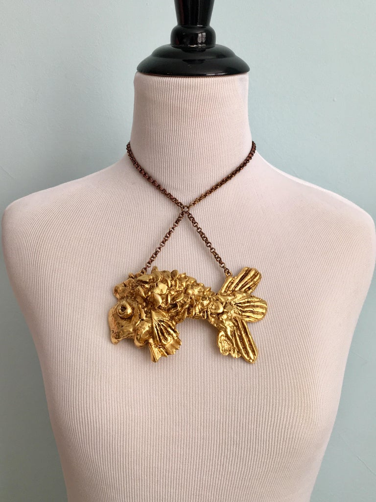 Kenneth Jay Lane Huge Fish Pendant Necklace, 1970s 1