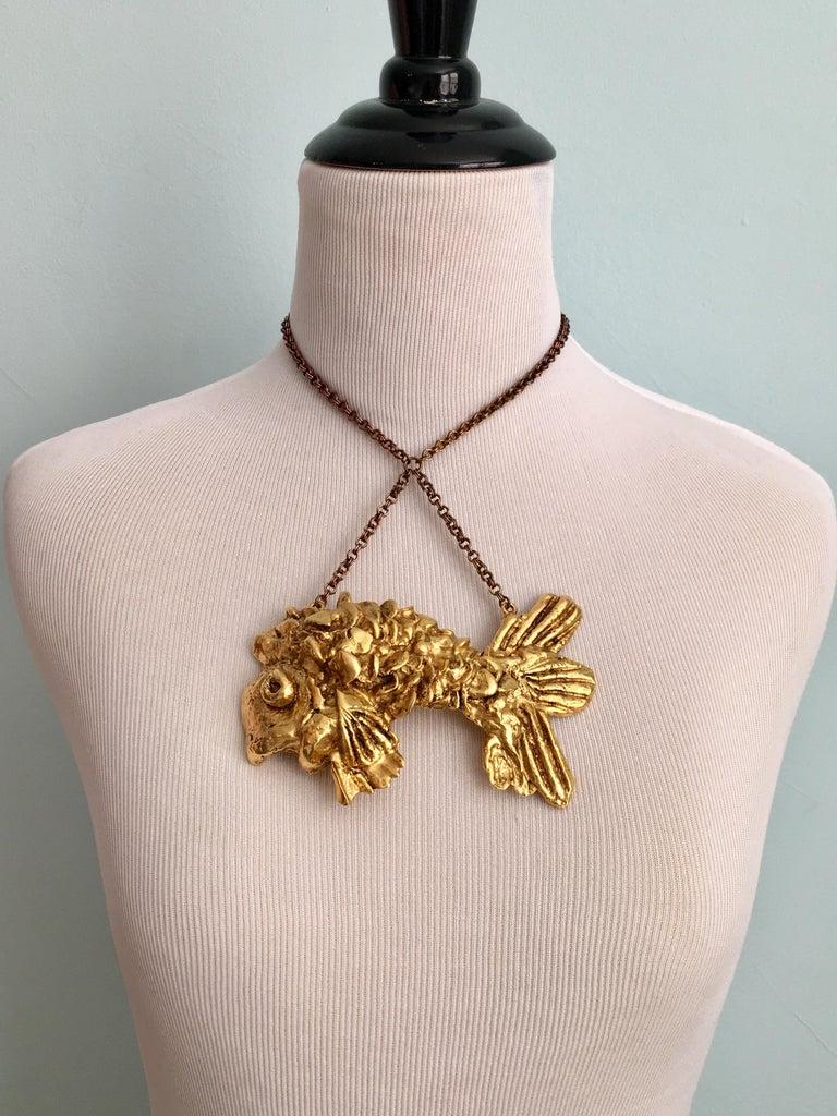 Kenneth Jay Lane Huge Fish Pendant Necklace, 1970s For Sale 1