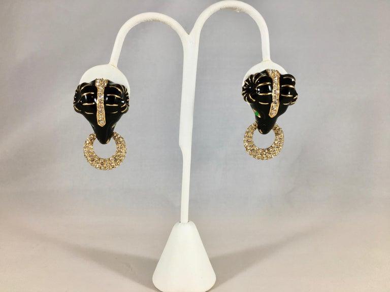 Women's or Men's Ciner Rams Head Clip-On Earrings, 1980s For Sale