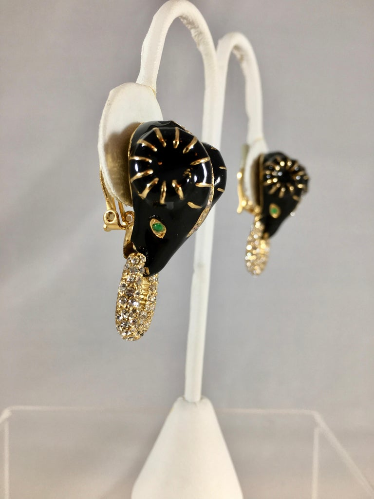Ciner Rams Head Clip-On Earrings, 1980s For Sale 3