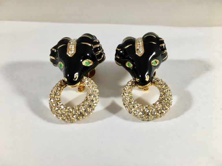 Ciner Rams Head Clip-On Earrings, 1980s For Sale 6