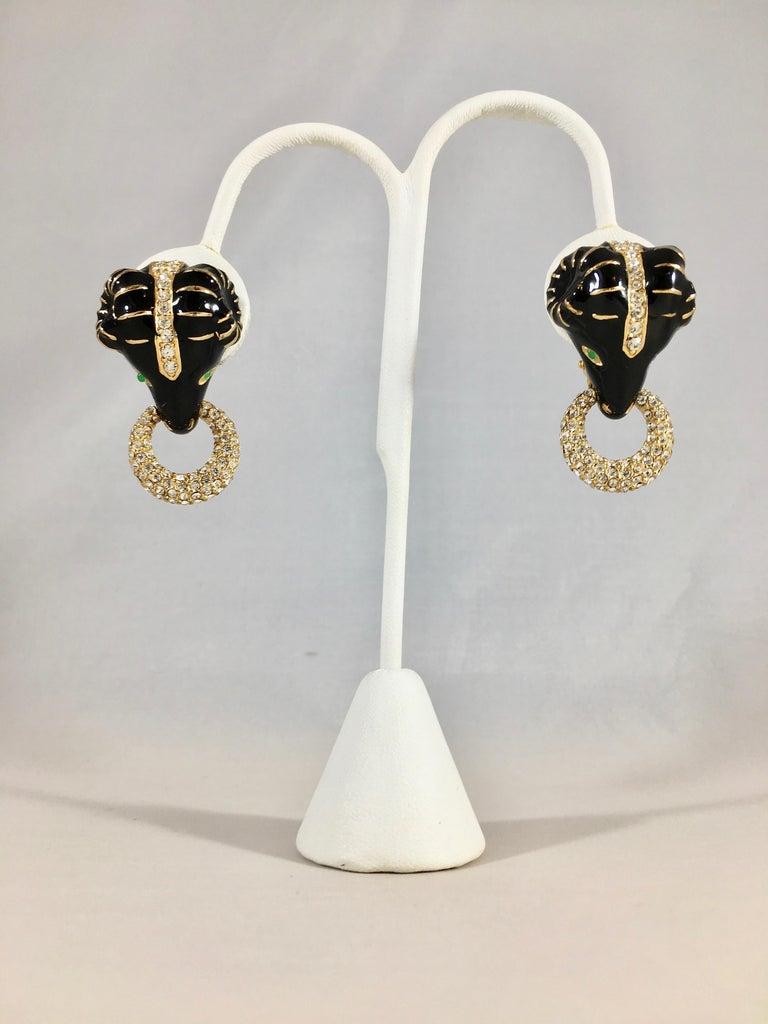 Ciner Rams Head Clip-On Earrings, 1980s For Sale 8