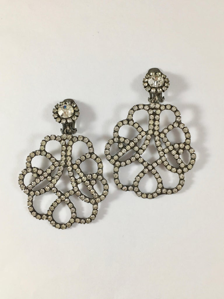Kenneth Jay Lane K.J.L. Large Earrings, 1960s  In Good Condition For Sale In Chicago, IL