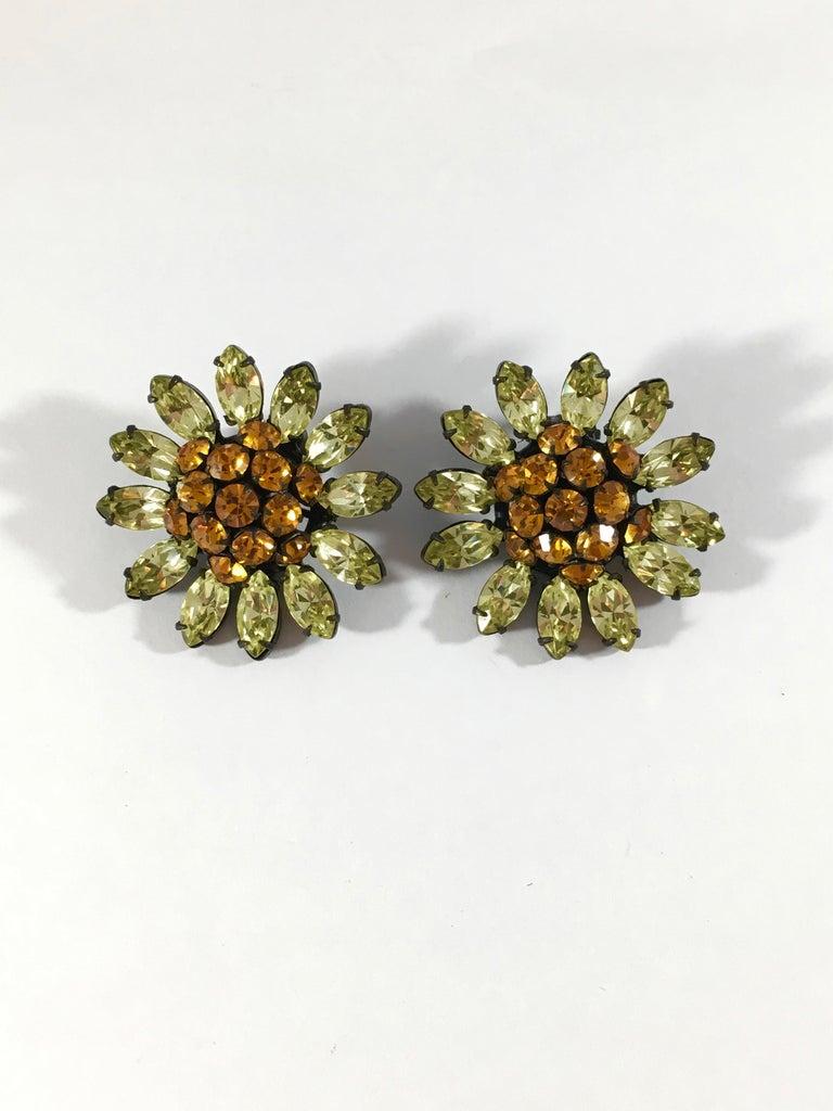 Women's Schreiner Green and Orange Flower Earrings, 1960s For Sale