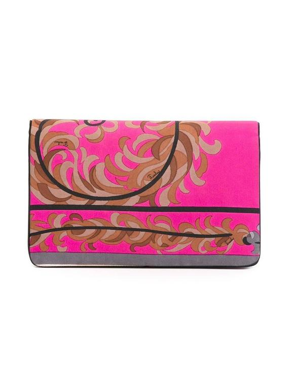 Gorgeous Emilio Pucci Silk Foliage clutch 70s 2