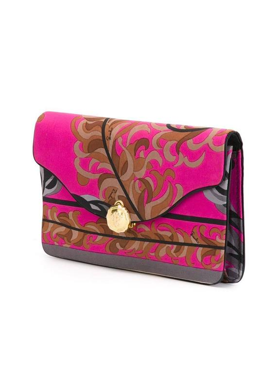 Pink Gorgeous Emilio Pucci Silk Foliage clutch 70s For Sale