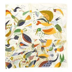 Hermès vintage 'Le bal des oiseaux' scarf